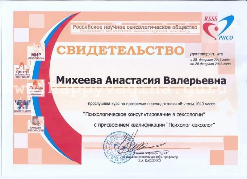 sexology certificate